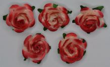 2.5cm RED OFF WHITE Mulberry Paper Roses (only flower head)